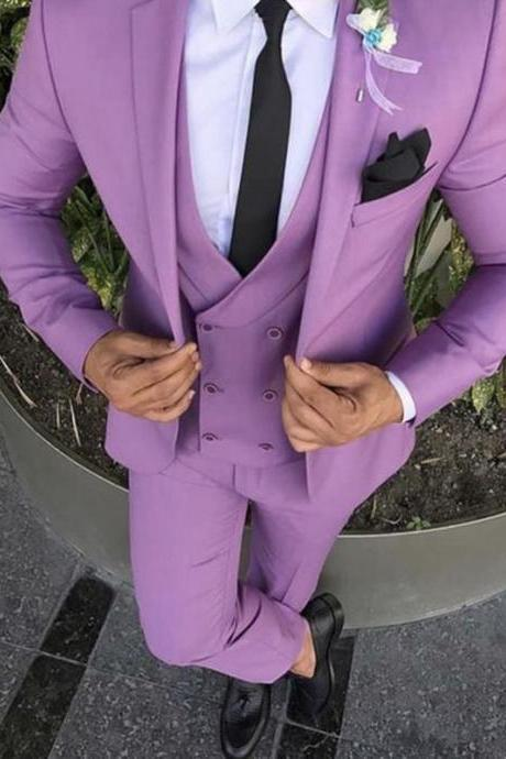 Custom Made Purple Prom Masculino Groom Trajes De Hombre Blazer Men Suit 3Pieces(Jacket+Pant+Vest+Tie) Fashion For Wedding