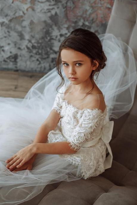 Newest White Long Flower Girl Dresses For Weddings 2018 Vestidos daminha Kids Pageant Evening Gowns First Communion Dresses