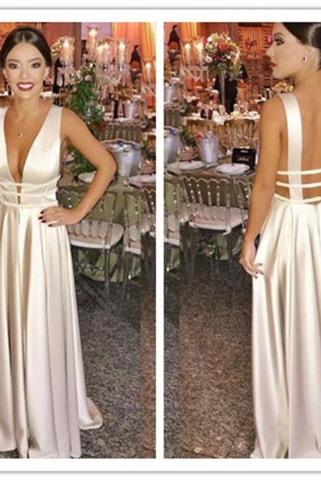 Beautiful Simple Long Formal Dress, Elegant A-line Prom Dress, Ivory Evening Dress