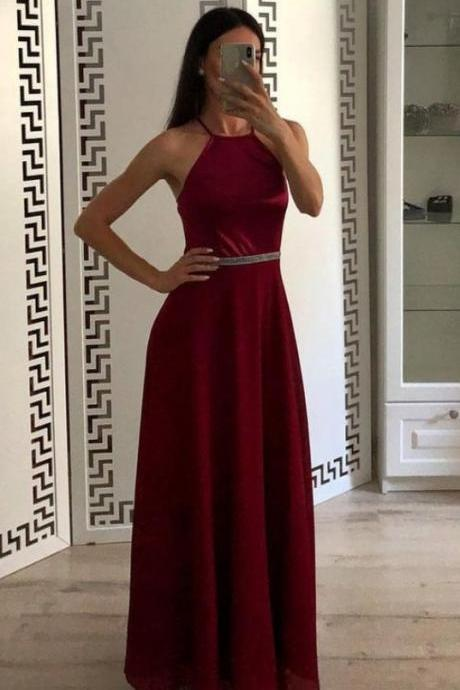 Fashion Burgundy A Line Halter Chiffon Simple Formal Evening Dresses