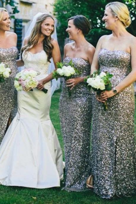 silver sequined long bridesmaid dresses, simple sweetheart bridesmaid dresses, modest bridesmaid dresses,long wedding party dresses, custom made dres for weddinngs