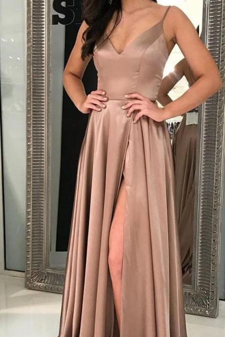 Champagne Prom Dress,Sexy Prom Dress,Long Prom Dress With Side Slit,Sexy Party Dress,Graduation Dress,