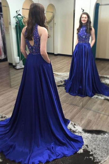 Royal Blue Prom Dress,Beadings Prom Dresses,Silver Beaded Formal Gown,Chiffon Formal Gown For Senior Teens,Royal Blue Prom Dresses,Long Prom Dress,Wedding Party Dress,Wedding&Events Dress,
