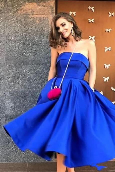 Strapless Royal Blue Tea Length Stian Party Dress Elegant Evening Gown