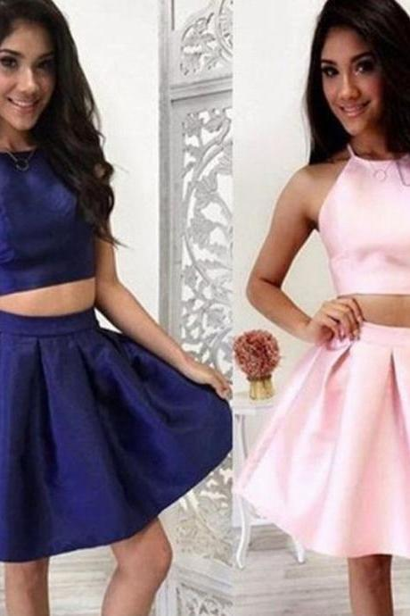 Two Pieces Short Homecoming Party Dress Mini V-neck Stain Prom Women Dress