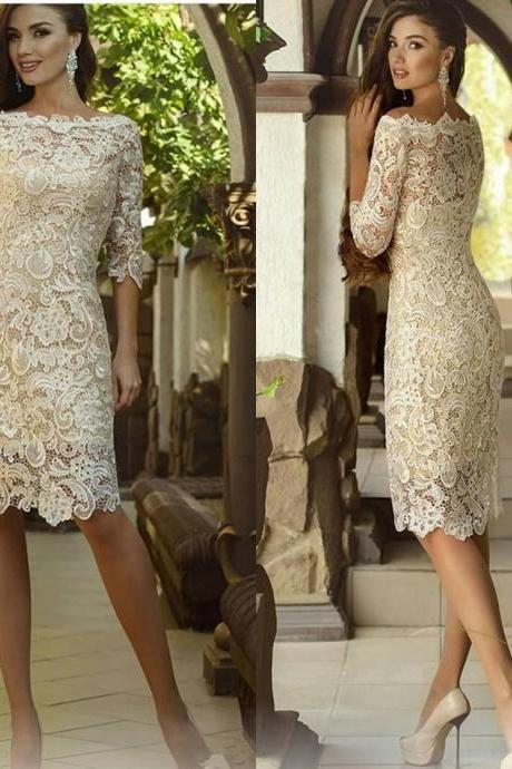 Vintage 2019 Crochet Lace Jewel Short Mother of the Groom Wedding Guest Gown Knee-length Mother Of The Bride Dresses with Long Sleeve
