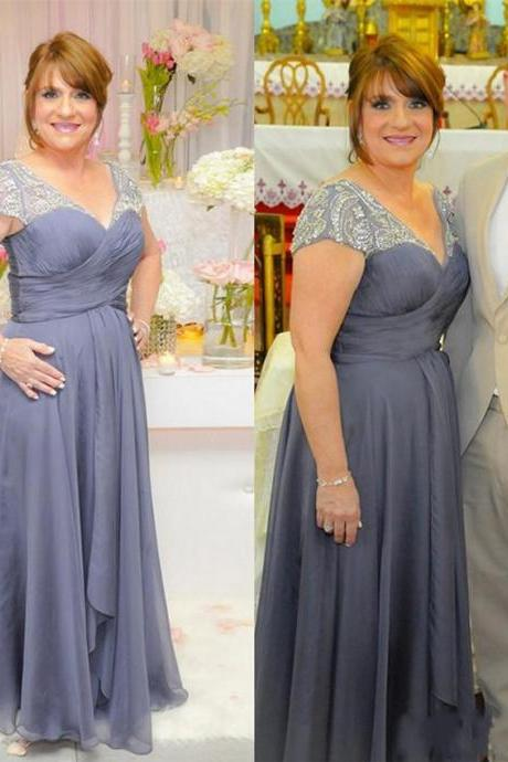 2019 Plus Size Mother Of The Bride Dresses V Neck Long Formal Evening Dresses With Beaded Short Sleeve Chiffon Mother Dress