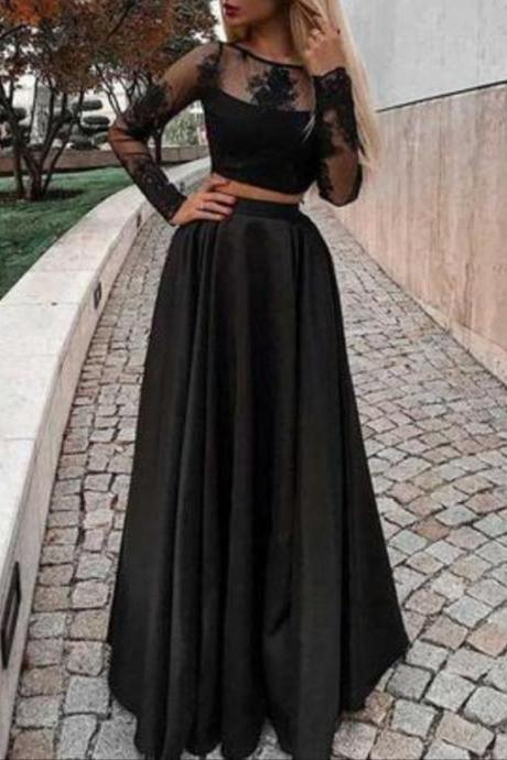 Two Piece Prom Dress with Long Sleeves, Floor Length Evening Dress with Lace