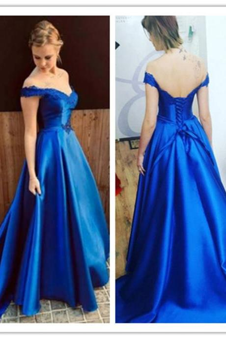 Royal Blue Off the Shoulder Prom Dress with Lace Appliques, A Line Satin Long Evening Dress