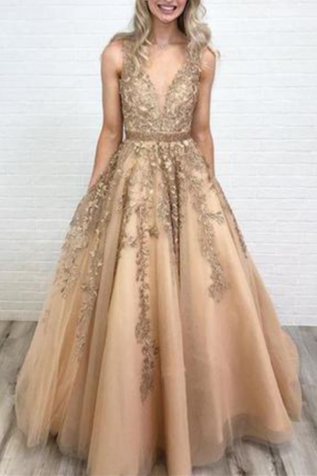A Line V Neck Tulle Lace Applique Prom Dress with Beading Waist, Puffy Party Dress