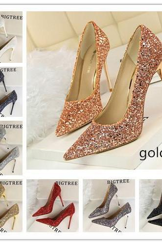 2019 Fashion 8 Colors Wedding Shoes Women's High Heels Shoes Classic Chinese Woman Party Shoes