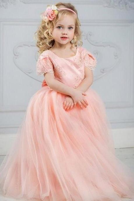 Coral Pink Girls Pageant Gowns Lace Appliques Ball Gown Flower Girl Dress Girls Christmas Dress Girls Birthday Party Gownsss for Girls, Teenagers Kids Party Gowns