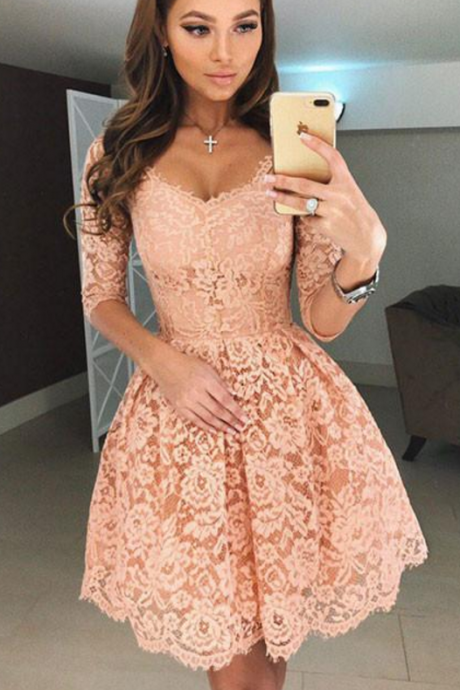 Sweety A-Line Half Sleeves Lace Short Homecoming Dress