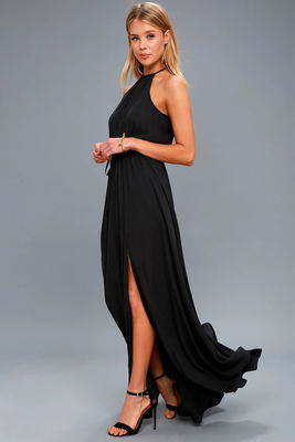 Chiffon Halter Sleeveless Long Women Maxi Dress