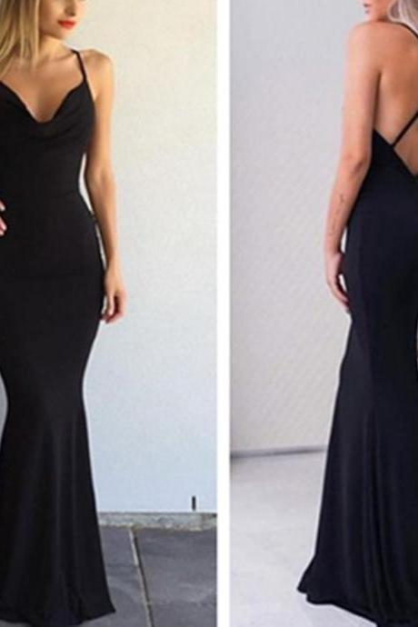 Black Prom Dress, Sexy Spaghetti-Strap Prom Dress, Cross-Back Prom Dress, Mermaid Prom Dress ,Prom Dress,Prom Dresses,Sexy Prom Dress,