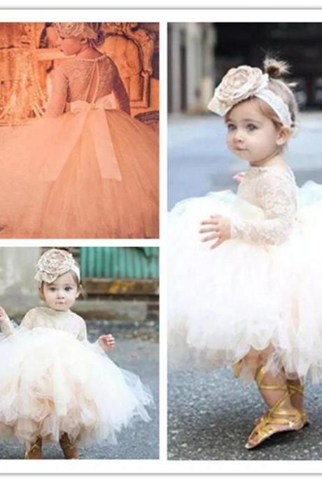 Simple Formal Tulle Lace Flower Girl Dresses with Appliques Kids Princess Gowns For Birthday Gowns