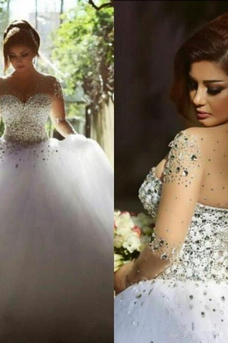 Wedding Dresses Real Image Luxury Crystal Bridal Gowns with Beads Sheer Illusion Crew Neck Long Sleeves Plus Size Lace-up Corset Back