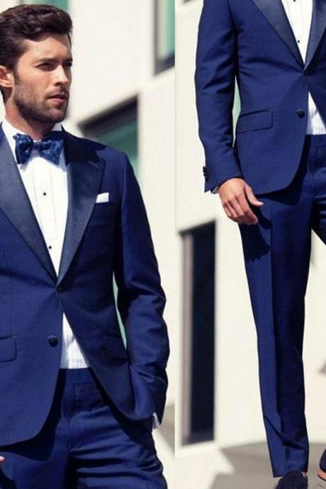 Fashion Classic Fit Groom Tuxedos Wedding Party Wear Prom Set Two Pieces(Jacket+Pants) Groom Wear Business Suit