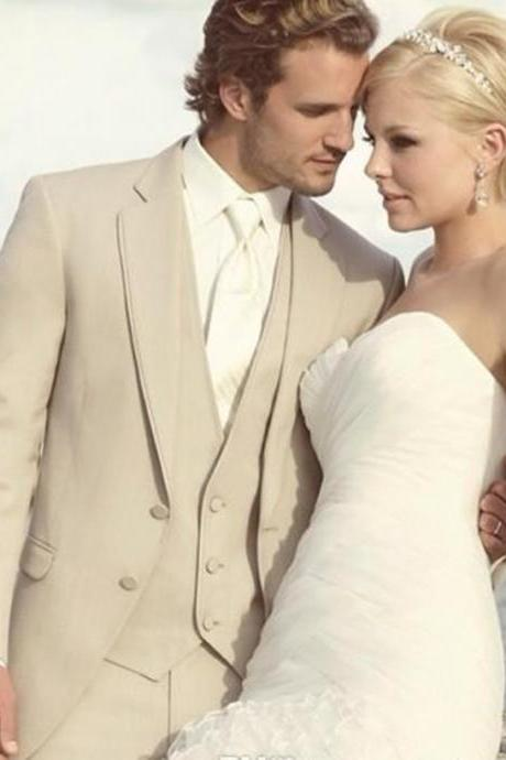 New Arrival Groomsman Groom Tuxedos Custom Made Beige Best man 3 pieces Men WeddingDinnerProm Bridegroom(Jacket+Pants+Tie+Vest)