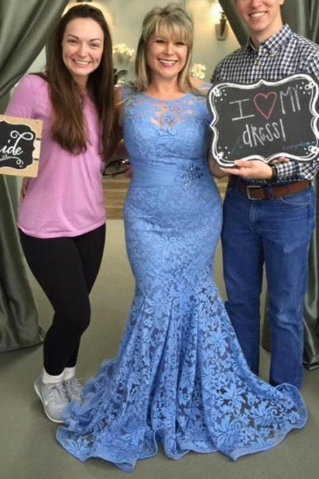 Gorgeous Mother Of The Bride Dresses New Sleeveless Blue Lace Appliques Elegant Mermaid Long Women Formal Gowns Evening Dresses