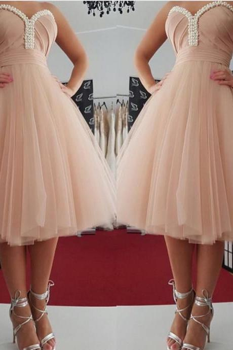 Knee Length Tulle Homecoming Dresses, Sweetheart Party Dresses
