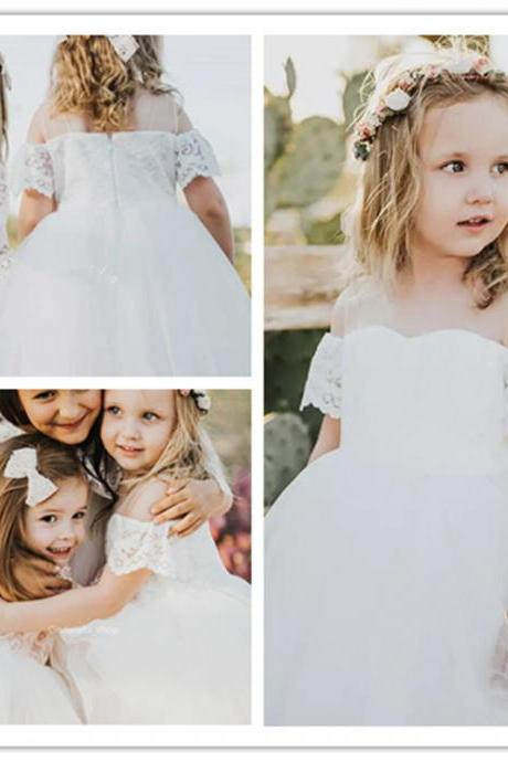 Pretty Lace Tulle Flower Girls Dresses White Off The Shoulder Ball Gowns Holy First Communion Dresses Country Wedding Party Girls Gowns 2019