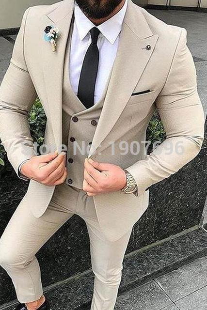 3 Piece Slim Fit Men Suits 2019 Peaked Lapel Blazer Tailor Made Wedding Groom Tuxedos Jacket Double Breasted Vest Coat Pants