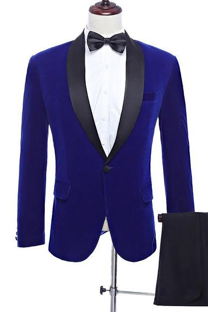 Royal Blue Men Suit Classic 2 Pieces Set Velvet Suits Wedding Groom Tuxedo Prom Costume