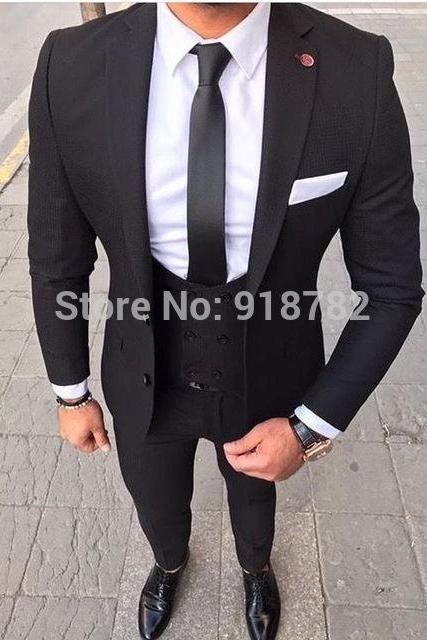 Latest Three Pieces Designs 2019 Costume Homme Mariage Black Formal Men Suit Tuxedo Men Wedding Suits Terno Masculino Slim Fit(Coat+Pant+Vest)