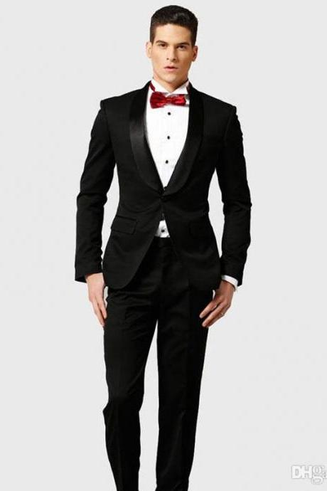 Latest Design Black Groom Wedding Tuxedo Men Suits Shawl Lapel Best Man Blazer Jacket 2Piece Classic Fit Terno Masculino Costume Homme