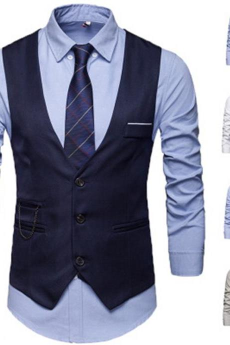 2019 New Fashion 5 Colors Single Breasted Vests British Style Suitable For Men Wedding / Dance / Dinner Best S-5XL Men Vests