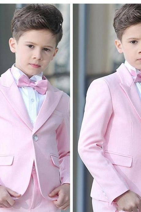 Boy 3 Pieces Pink Suit Wedding Tuxedos Peak Lapel One Button Boy Formal Wear Kids Suits for Prom Party Custom Made(Blazer+Pants+Vest)