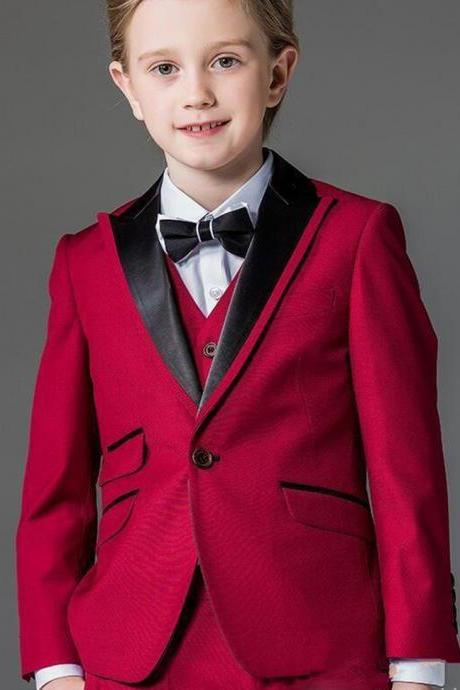 New Fashion Boy Tuxedos Peaked Lapel One Button Children Clothing For Wedding Party Kids Suit Boy Set (Jacket+Pants+Vest)