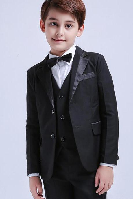 New Custom Made Boy Tuxedos Notch Lapel Formal Children Clothing For Wedding Party 3 Pcs (Jacket+Pants+Vest)