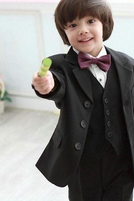 High Quality Three Buttons Black Notch Lapel Boy's Formal Wear Occasion Kids Tuxedos Wedding Party Suits (Jacket+Pants+Vest)