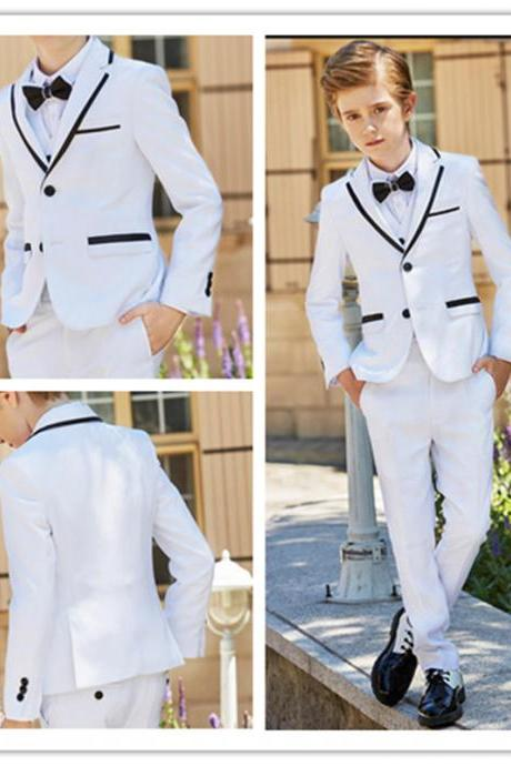 New Fashion White Boy Formal Wear Notch Lapel Boy Kid Attire Clothes For Wedding Birthday Party (Jacket+Pants+Vest)