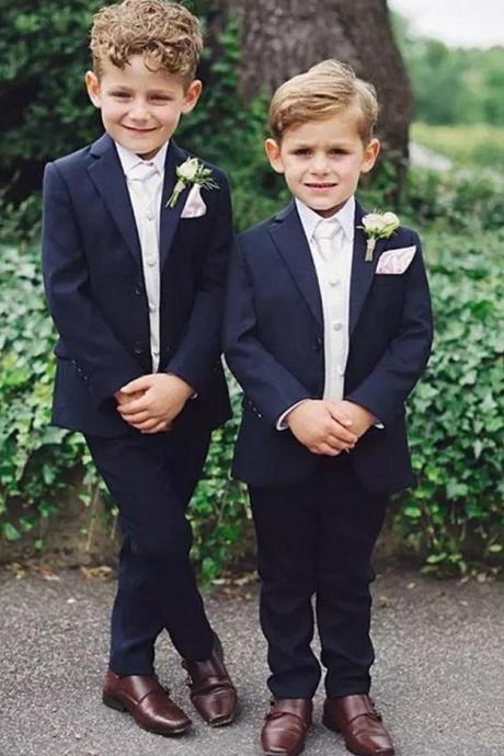 Boy 3 Pieces Navy Suit Wedding Boy Tuxedos Two Button Formal Wear Kids Costume for Prom Party Ring Boy Suit(Blazer+Pants+Vest)