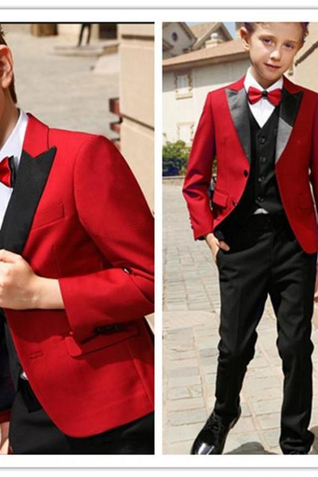 Boy Red Suit Smart Teens Peak Lapel Two Button Boy Tuxedos Wear Kids Suits for Prom Party Custom Made(Boy Jacket+Pants+Vest