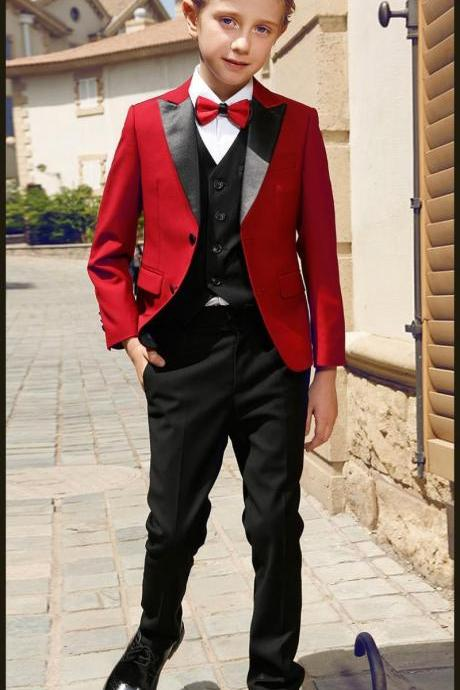 Boy 3 Pieces Red Suit Smart Teens Peak Lapel Two Button Boy Tuxedos Wear Kids Suits for Prom Party Custom Made(Boy Jacket+Pants+Vest)