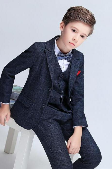 Baby Boy Suit For Wedding Party Children Boy Three Piece Blazer Kids Boys Suits Formal Clothes(Jacket+Pant+Vest)