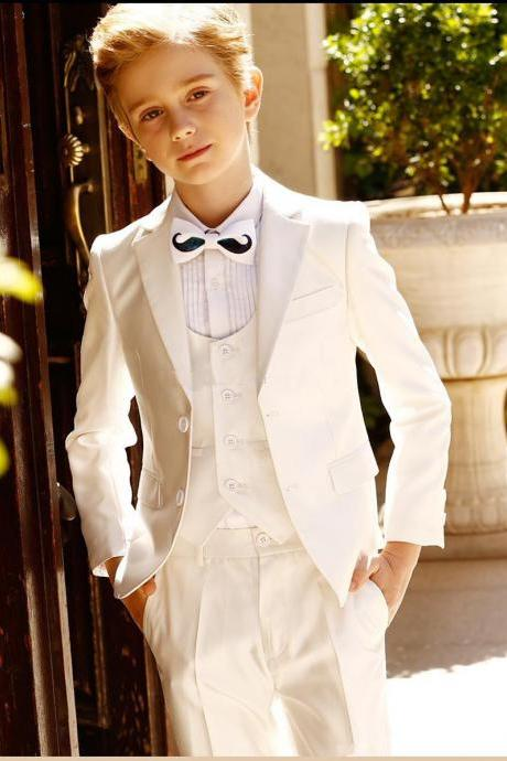 ustom Made Ivory Notch Lapel Boy Suits Three Pieces(Jacket+Pants+Vest) Wedding Suits for Little Boy Prom Party Wear(Jacket+Pant)