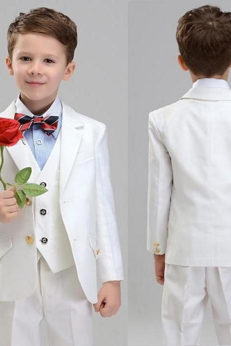 Formal Occasion Boy Suits Fashion Boys Shawl Lapel Suits Two Button Three-piece Boys Suits For Wedding(jacket+pants+vest)
