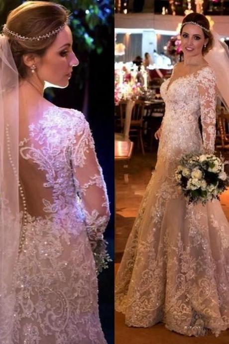 Dubai Pearls Beads Wedding Dresses Sparkly Crystal Lace Applique Long Sleeve Wedding Gowns 2019 Vintage V-Neck Mermaid Wedding Dress