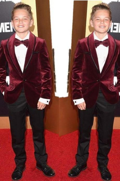 Velvet Boys Suits for Weddings Children Suit tuxedo Kid Wedding Prom Suits blazers for boys (Wine Red Jacket+Balck Pants)