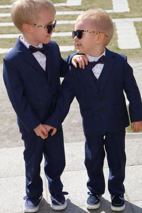 Formal Terno Infantil Baby Boys Suits for Weddings Kids Prom Wedding Suits Kids Blazers Ring Bearer Outfits Three Pieces Boy Suits(Jacket+Pant+Vest)