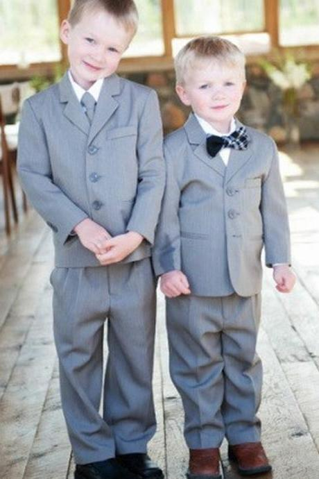 Two PIeces Flower Boys Formal Wedding Suit Baby Boy Suits Birthday Party Dress Kids Blazer Piano Tuxedo Children Prom Performance(Jacket+Pant)
