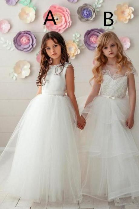 2020 White Lace Appliqued Flower Girl Dresses Sleeveless First Communication Dress Long Girl Birthday Formal Party Wedding Gown