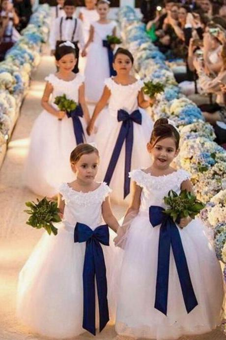 2019 white A-line Flower Girl Dresses For wedding tulle lace Little Girls Birthday Party Dress with bow sash Children Pageant Dress Romper