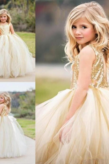 Red Girls Pageant Dresses Jewel Neck Bow Sleeveless Ball Gown Flower Girl Dress For Wedding Custom Made Satin Kids Formal Gown
