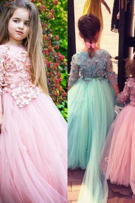 Pink Long Sleeve Flower Girl Dresses For Weddings 3D Floral Appliqued Beads Little Baby Ball Gowns Puffy Skirts Communion Pageant Dress